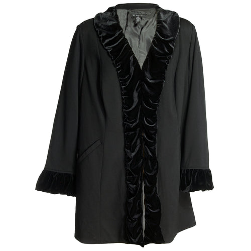 INC Black Long Sleeve Velvet Ruffle Trim Jacket