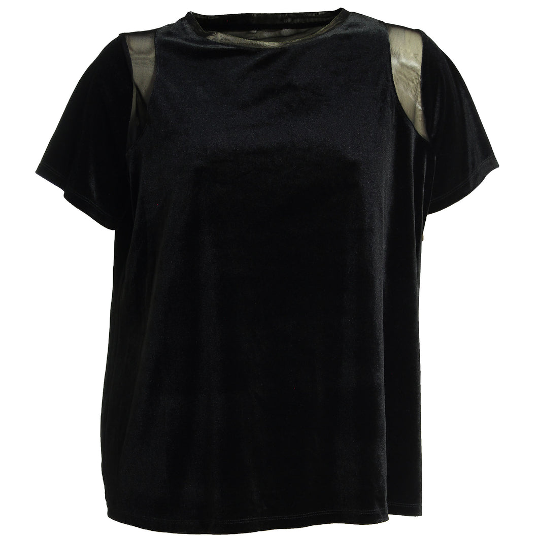 INC Black Short Sleeve Velvet Illusion Top