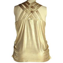 INC Gold Sleeveless Lattice Back Ruched Top