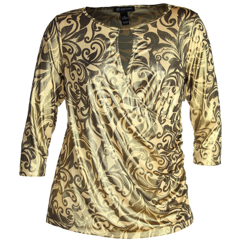 INC Metallic Gold Print 3/4 Sleeve Surplice Top