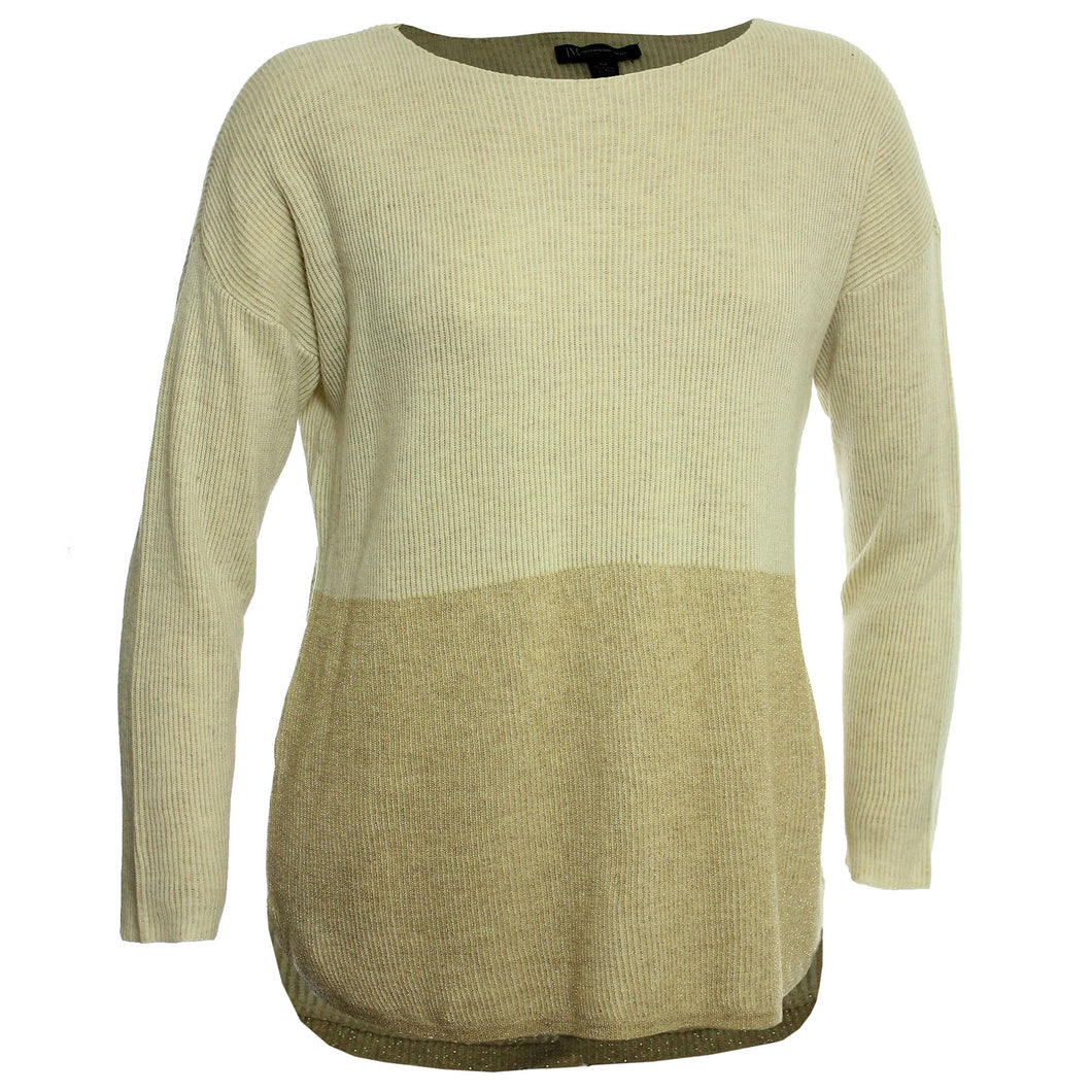 INC Beige / Gold Two Tone Long Sleeve Boat Neck Sweater