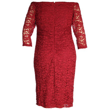 INC Red Off-the-Shoulder Long Sleeve Lace Cocktail Dress