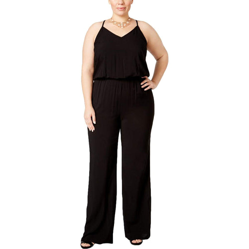 INC Black Sleeveless Wide Leg Blouson Jumpsuit Plus Size