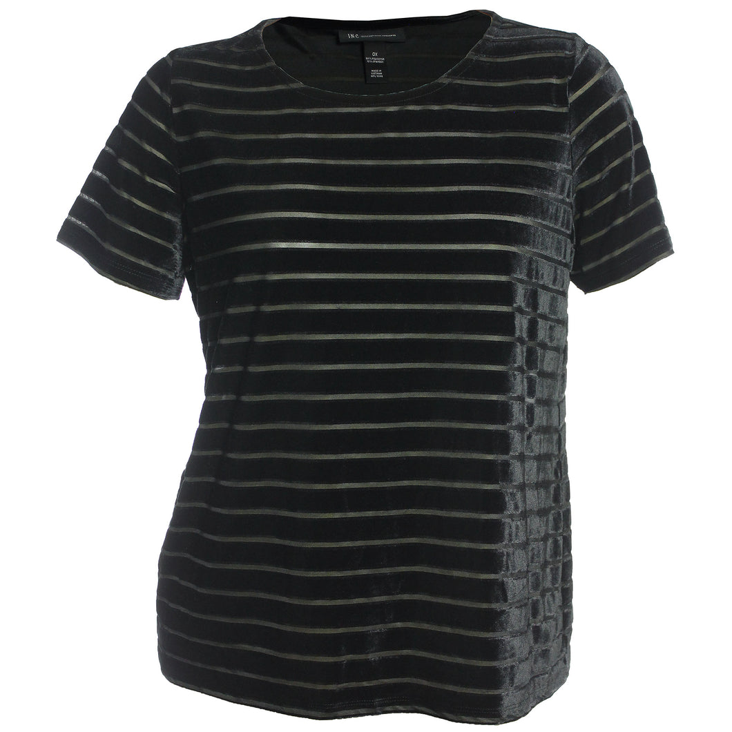 INC Black Short Sleeve Burnout Striped Velvet Top