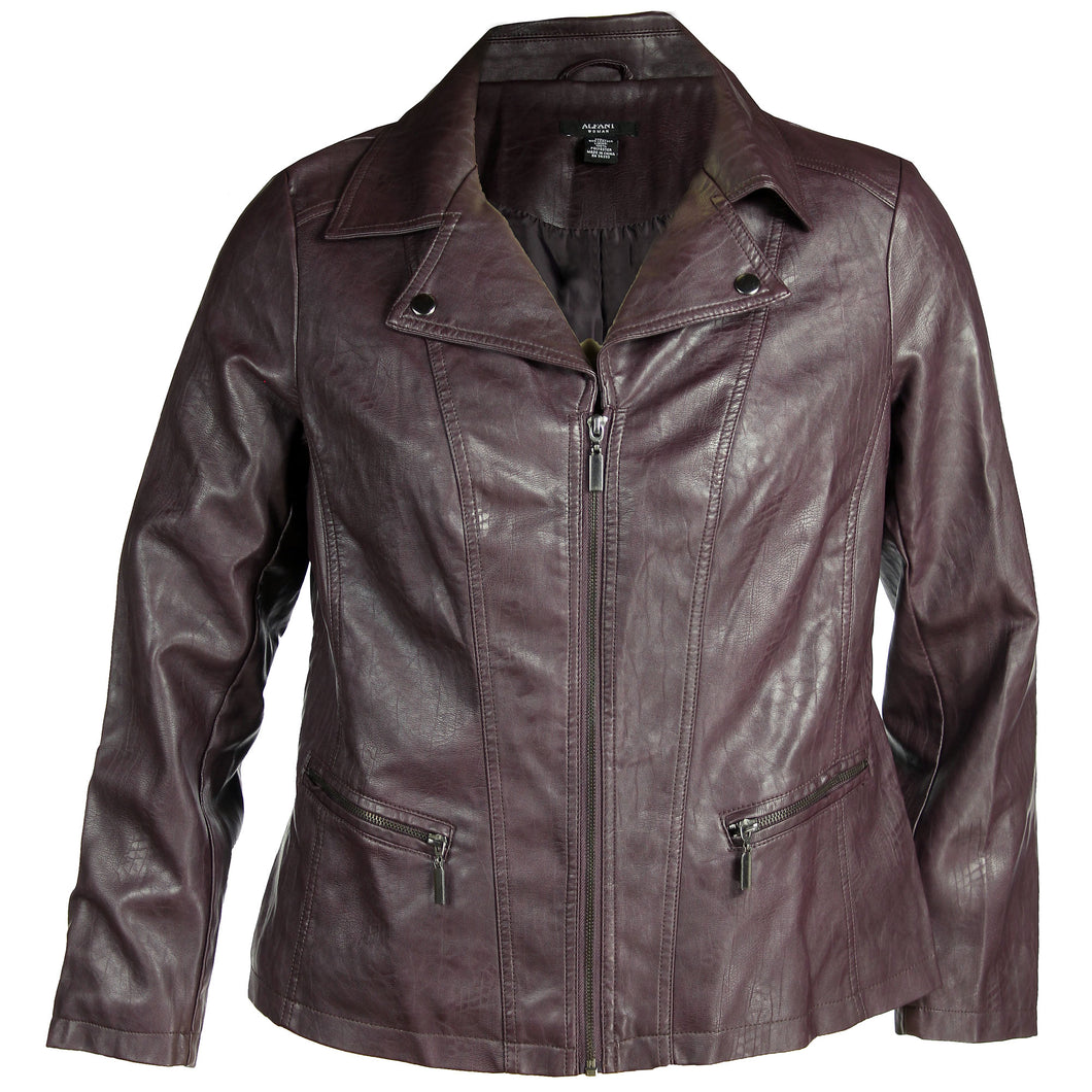 Alfani Brown Long Sleeve Faux Leather Moto Jacket Plus Size