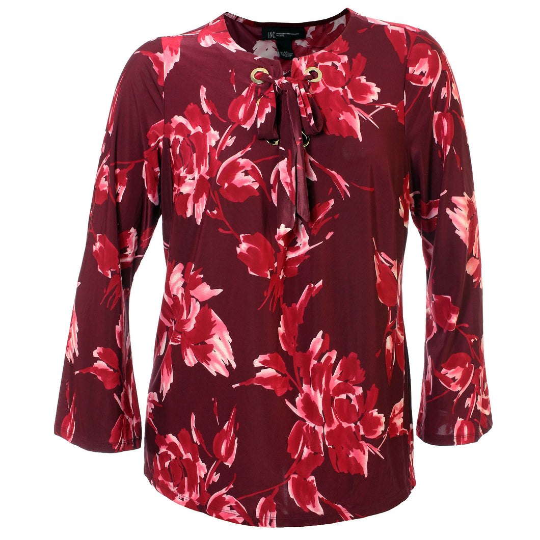 INC Multi Color Floral Bell Sleeve Lace Up Front Shirt