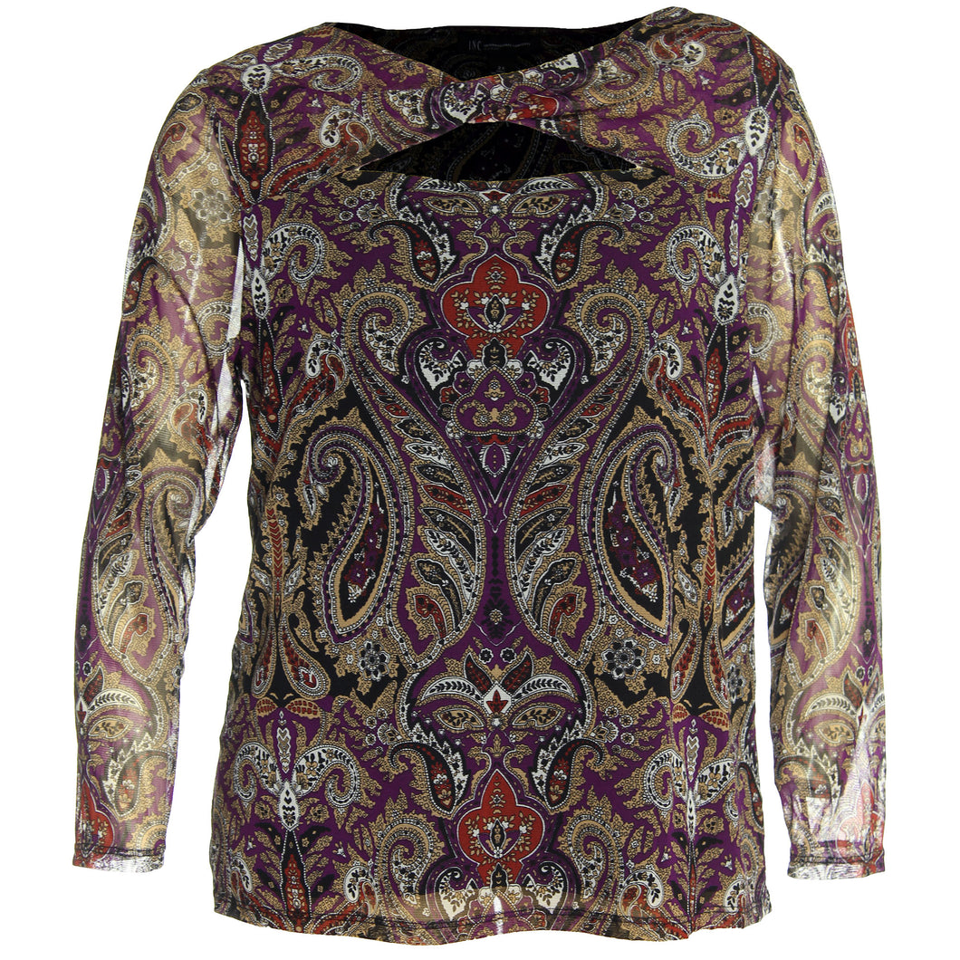 INC Multi Color Print Long Sleeve Cutout Knit Top
