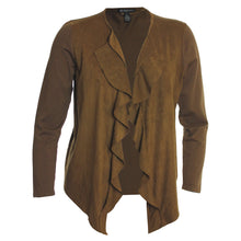 INC Brown or Black Open Front Cascading Ruffle Faux Suede Mixed Media Cardigan Sweater