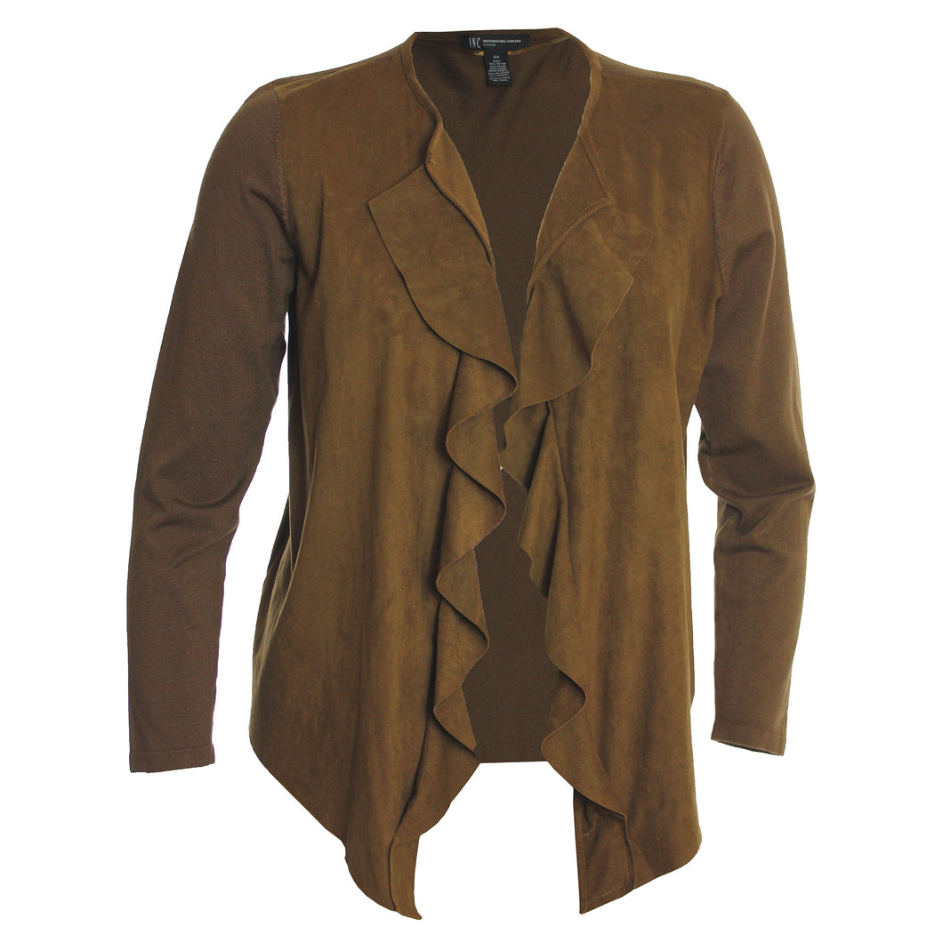 INC Brown Open Front Cascading Ruffle Faux Suede Mixed Media Cardigan Sweater