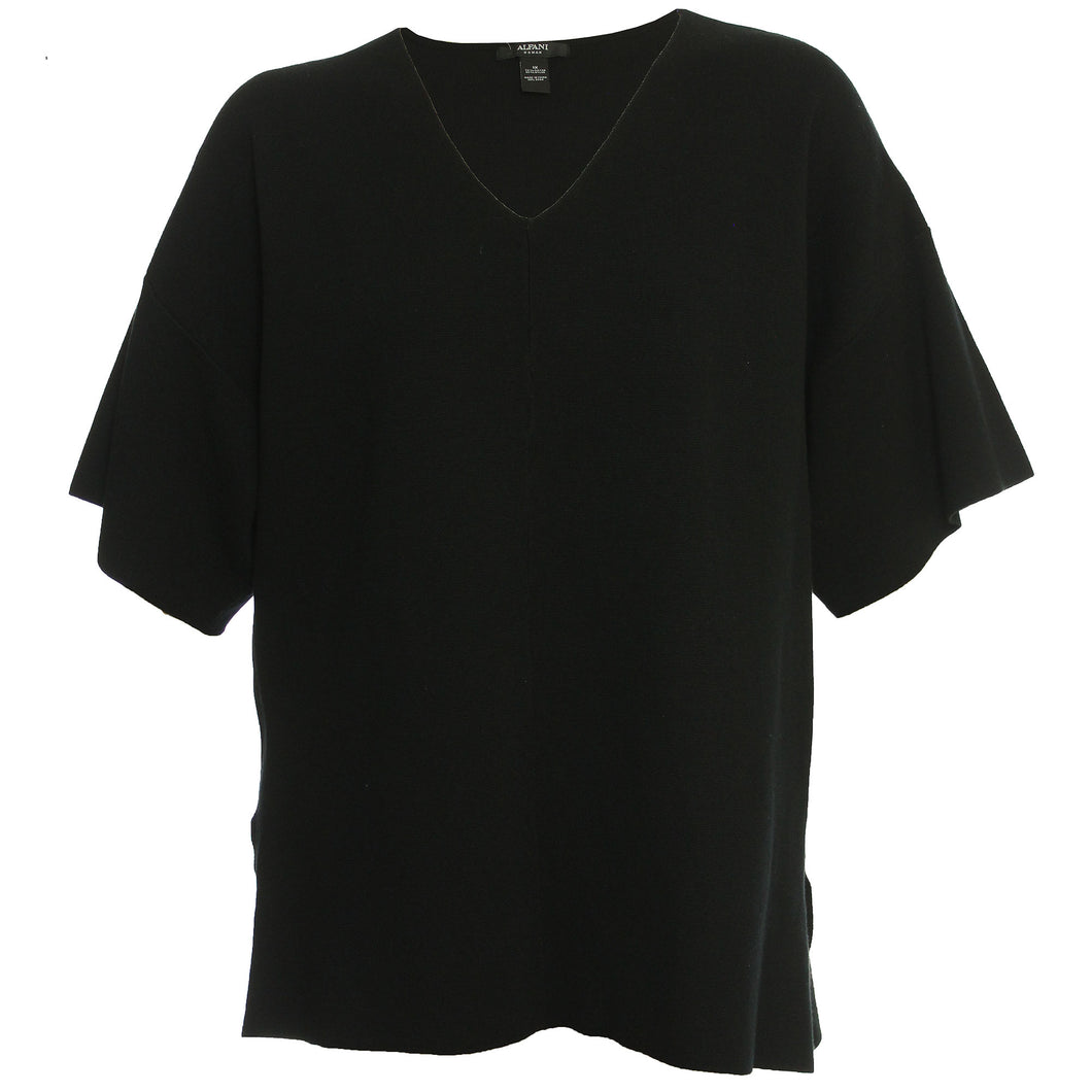 Alfani Black Short Sleeve Pullover Sweater