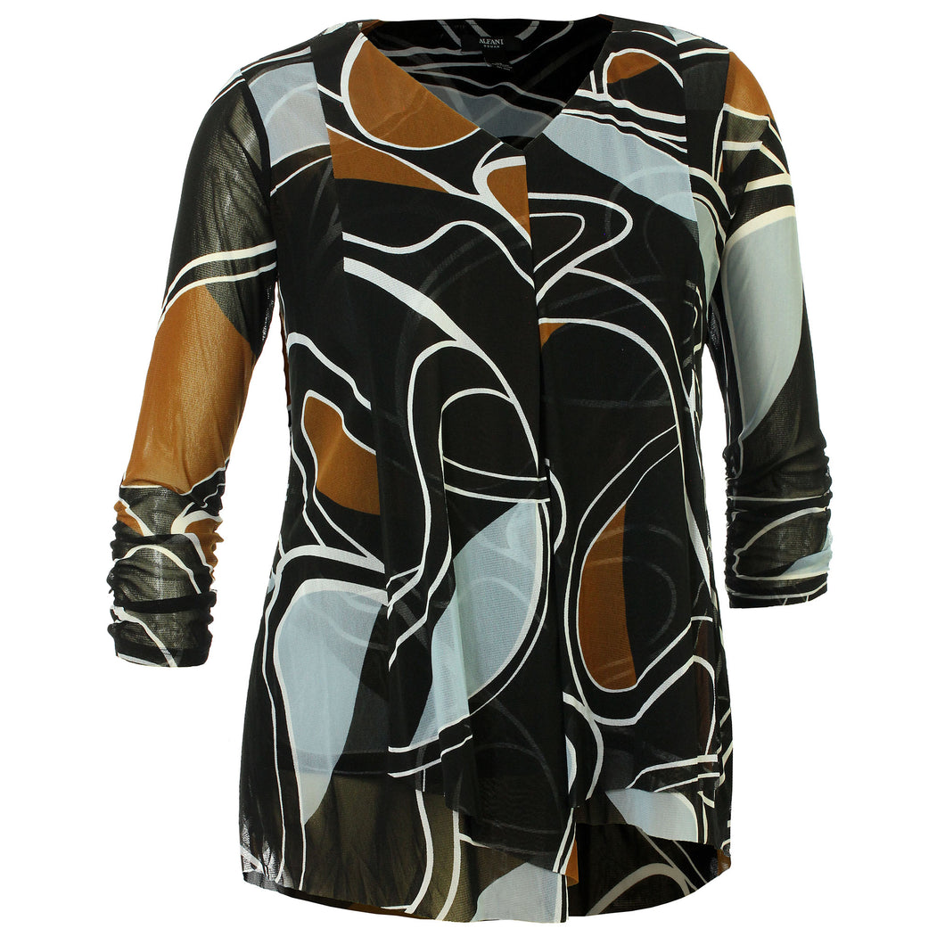 Alfani Multi Color Abstract Print Long Sleeve Layered Mesh Shirt