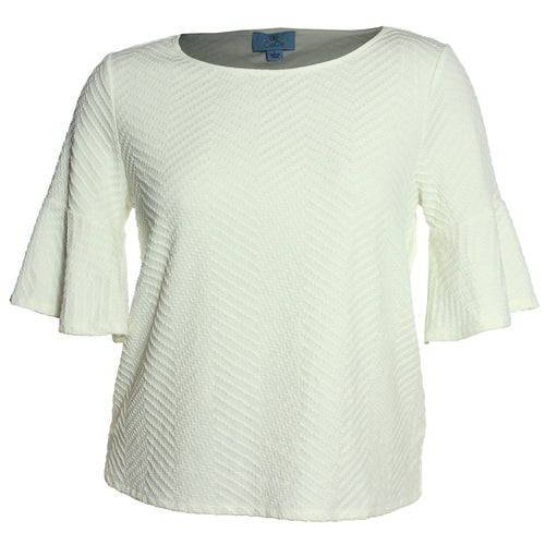 CeCe Ivory Elbow Length Bell Sleeve Textured Top