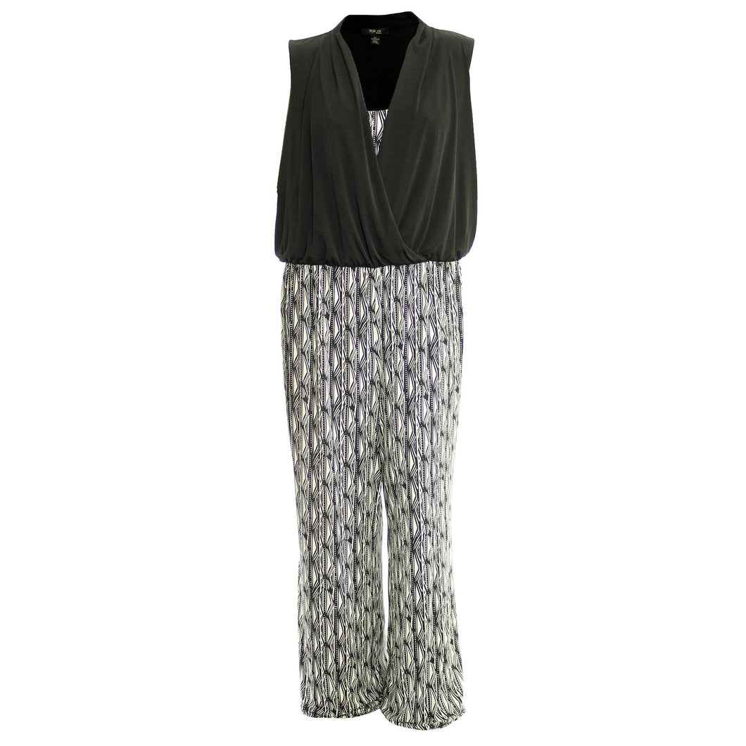 Style & Co. Multi Color Print Sleeveless Wide Leg Jumpsuit