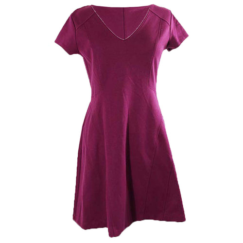 Maison Jules Purple Short Sleeve Fit & Flare Knit Dress