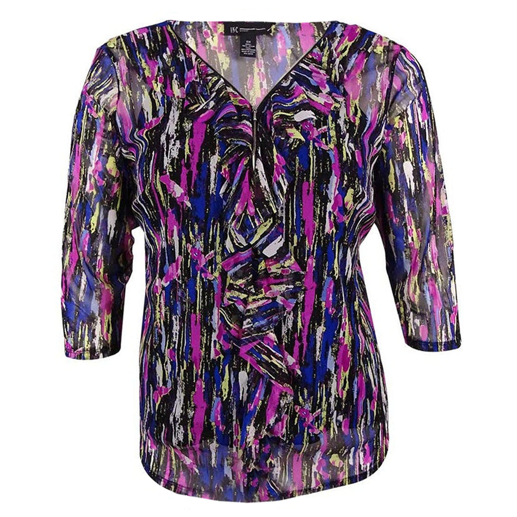 INC Multi Color Abstract Print 3/4 Sleeve Ruffle / Zip Front Blouse & Camisole