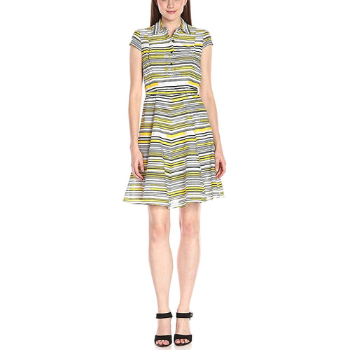 Nine West Multi Color Print Cap Sleeve Fit & Flare Dress