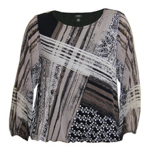 Alfani Multi Color Print Long Woven Sleeve Scoop Neck Knit Top