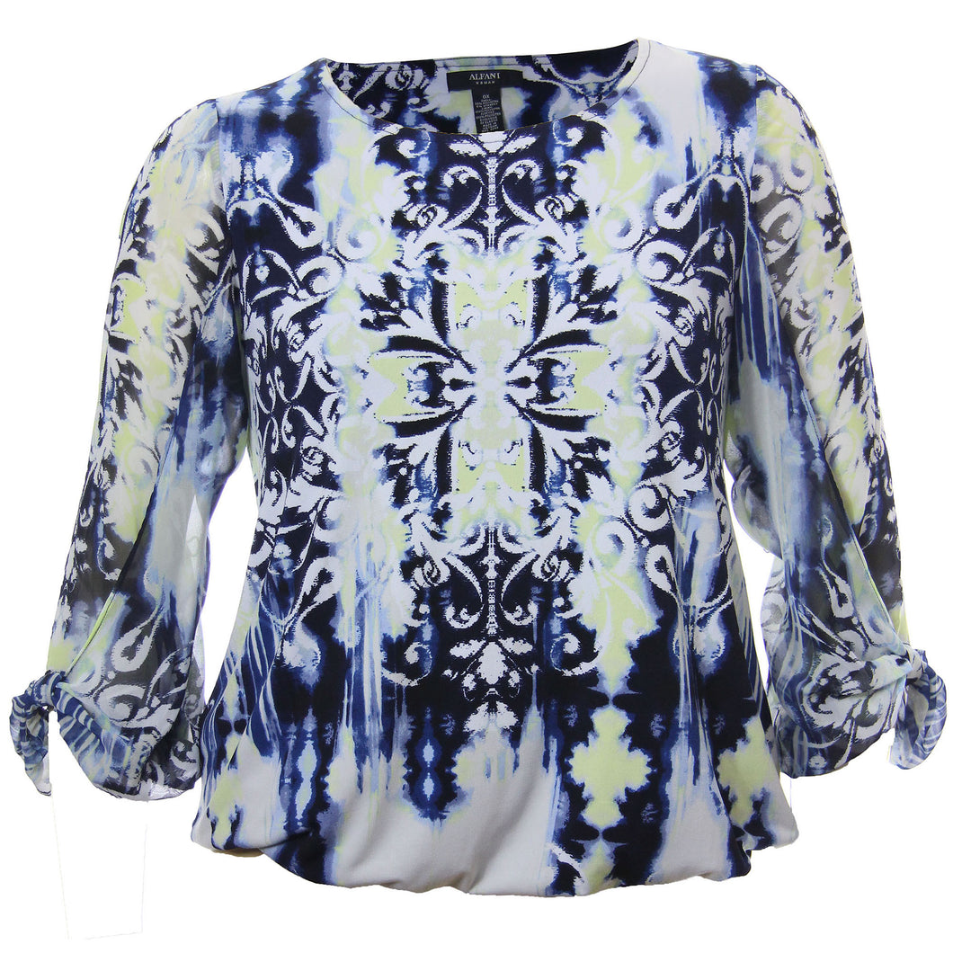 Alfani Multi Color Abstract Print 3/4 Sleeve Balloon Hem Blouse