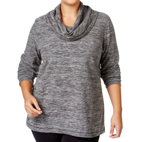 Ideology Gray Long Sleeve Cowl Neck Fleece Top