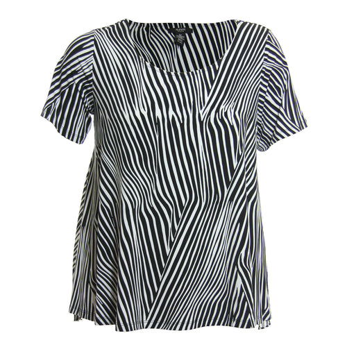 Alfani Black & White Animal Print Short Sleeve Chiffon Back Knit Top Shirt