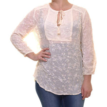 Lucky Brand Ivory Long Sleeve Embroidered Blouse