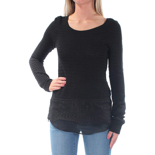 Lucky Brand Black Long Sleeve Mixed Media Pullover Sweater
