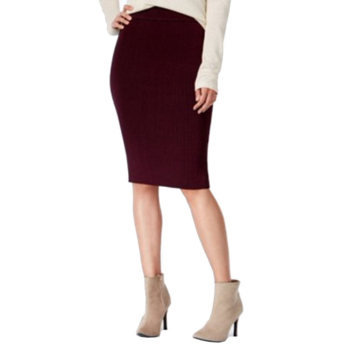 Bar III Purple Pull-on Ribbed Knit Straight Skirt