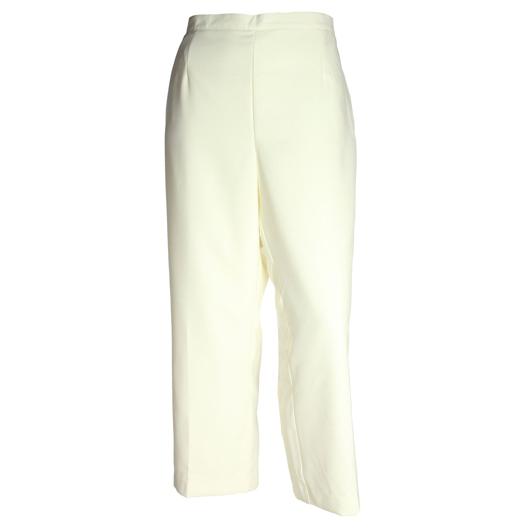 Alfred Dunner Ivory Pull On Flat Front Pants