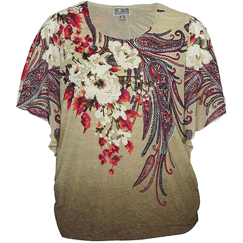 JM Collection Multi Color Print Butterfly Sleeve Embellished Shirt Plus Size