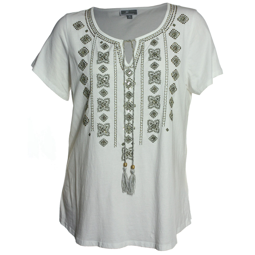JM Collection White Short Sleeve Embellished Shirt