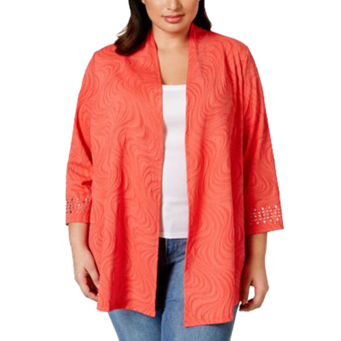 JM Collection Coral 3/4 Studded Sleeve Open Front Shrug