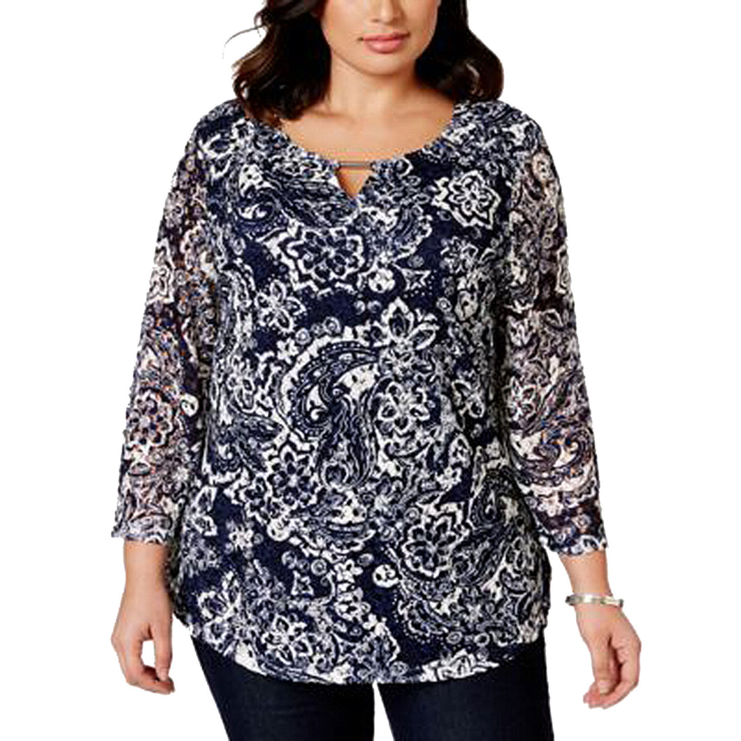 JM Collection Blue & White 3/4 Sleeve Printed Lace Top