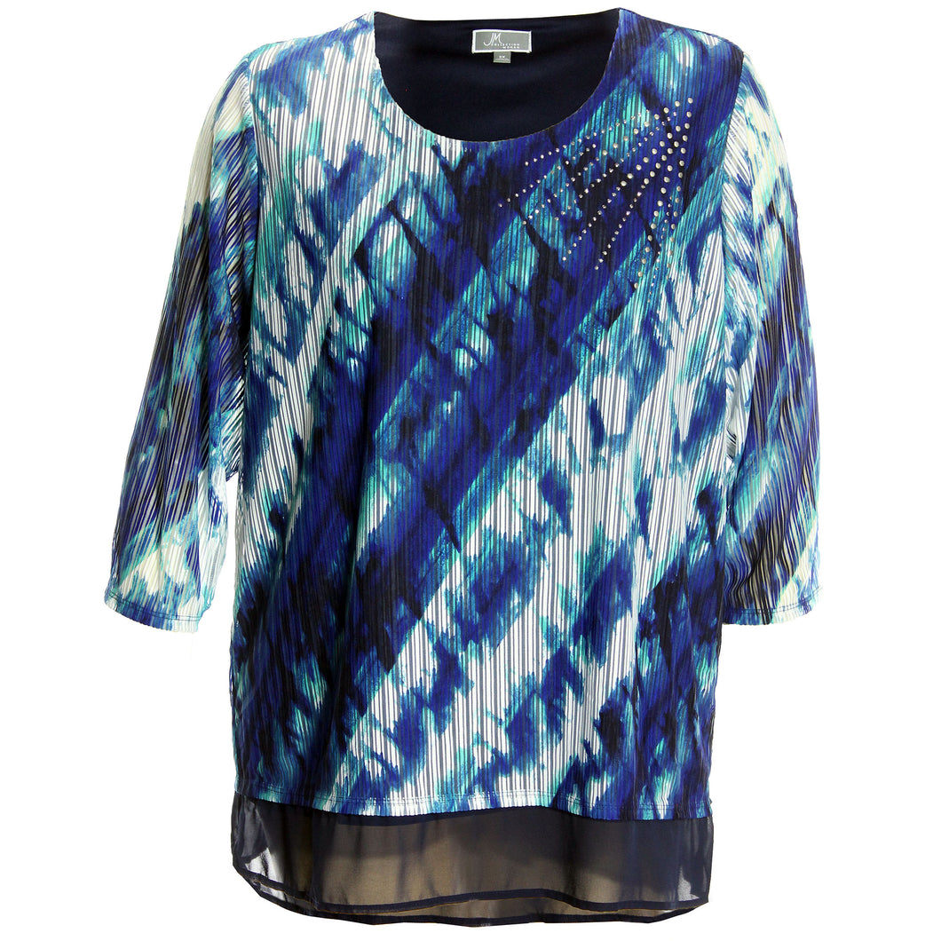 JM Collection Multi Color Abstract Print 3/4 Sleeve Chiffon Hem Studded Blouse