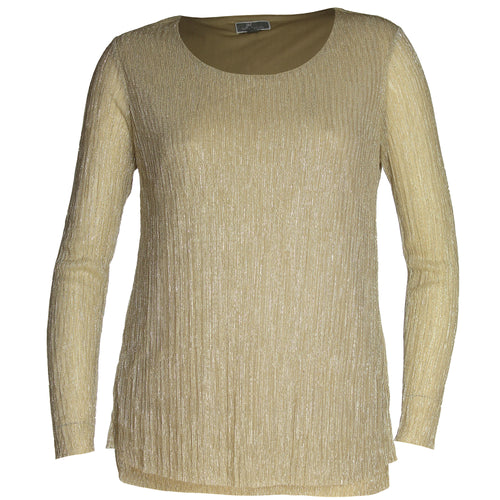 JM Collection Gold Long Sleeve Layered-Hem Crinkle Top
