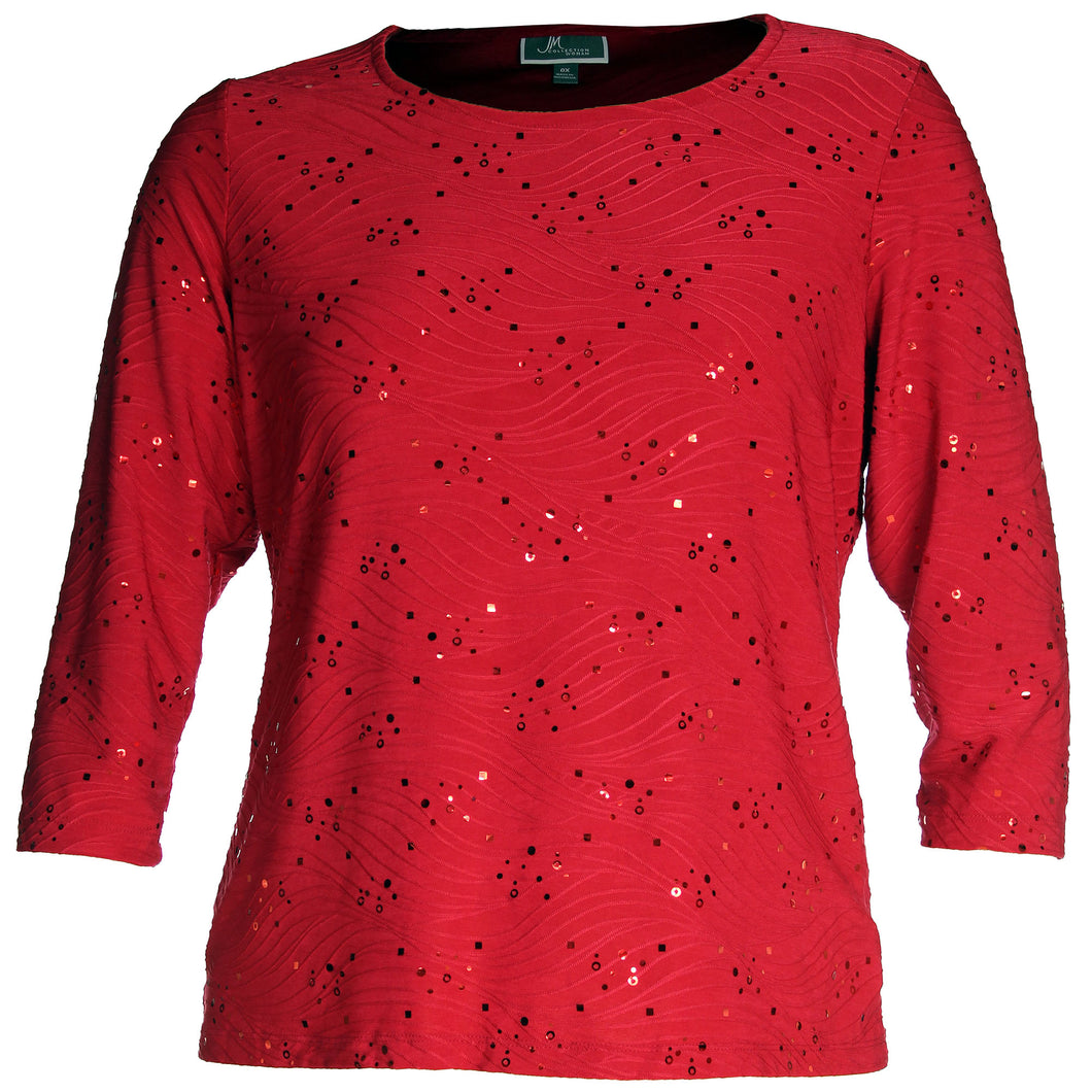 JM Collection Red 3/4 Sleeve Embellished Jacquard Top Plus Size