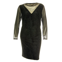 Spense Black Dot Burnout Long Sleeve Illusion Dress