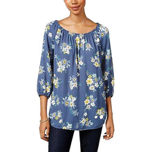 Style & Co Blue Floral Print 3/4 Sleeve Blouse
