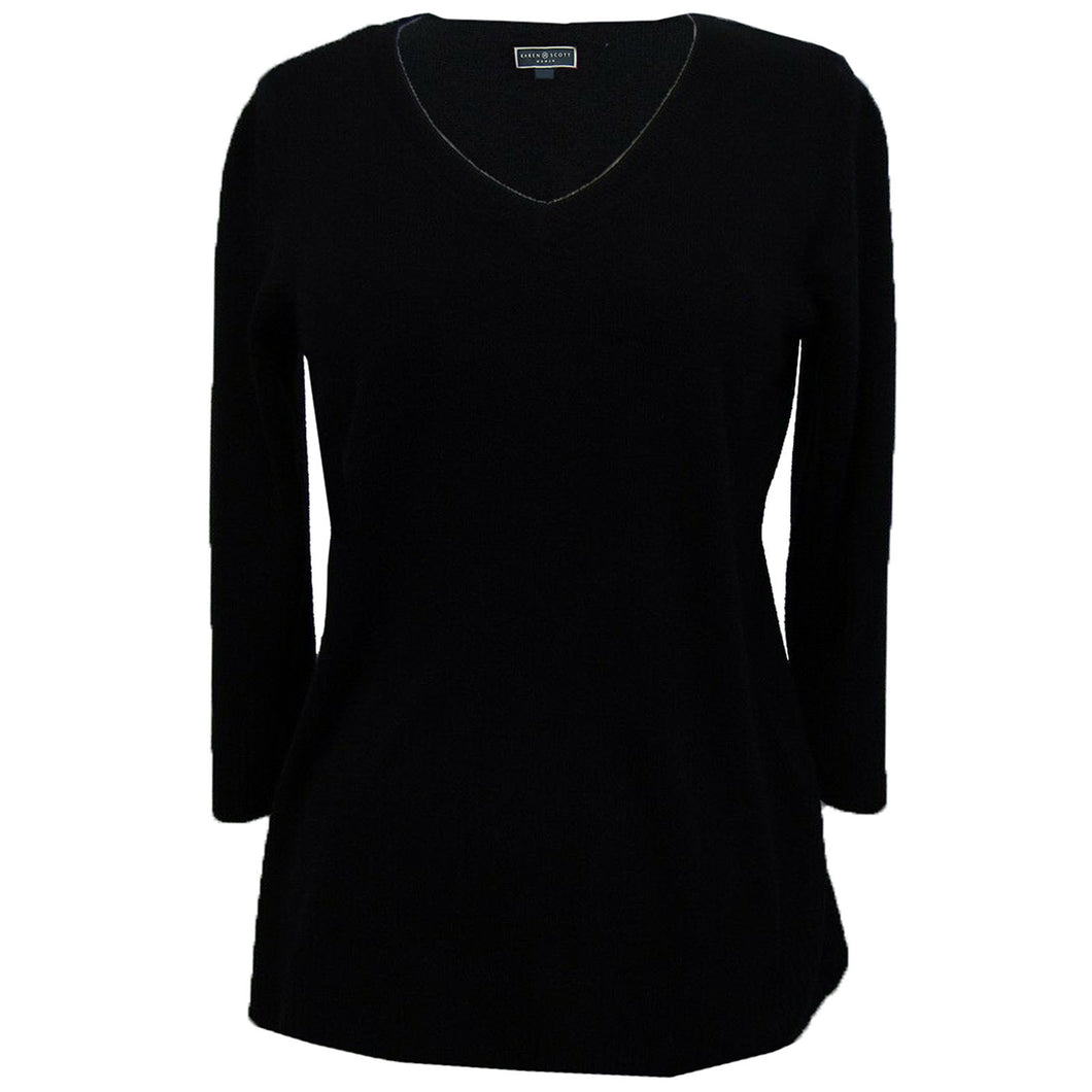 Karen Scott Red or Black 3/4 Sleeve V-Neck Sweater Plus Size