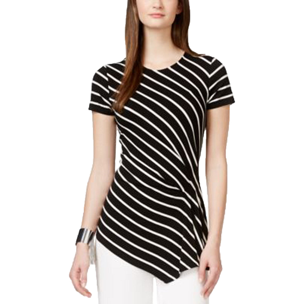 Vince Camuto Black/White Striped Short Sleeve Asymmetric Knit Shirt