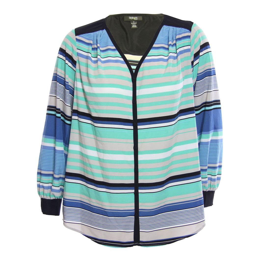 Style & Co Multi Color Striped Long Sleeve Button Down Shirt