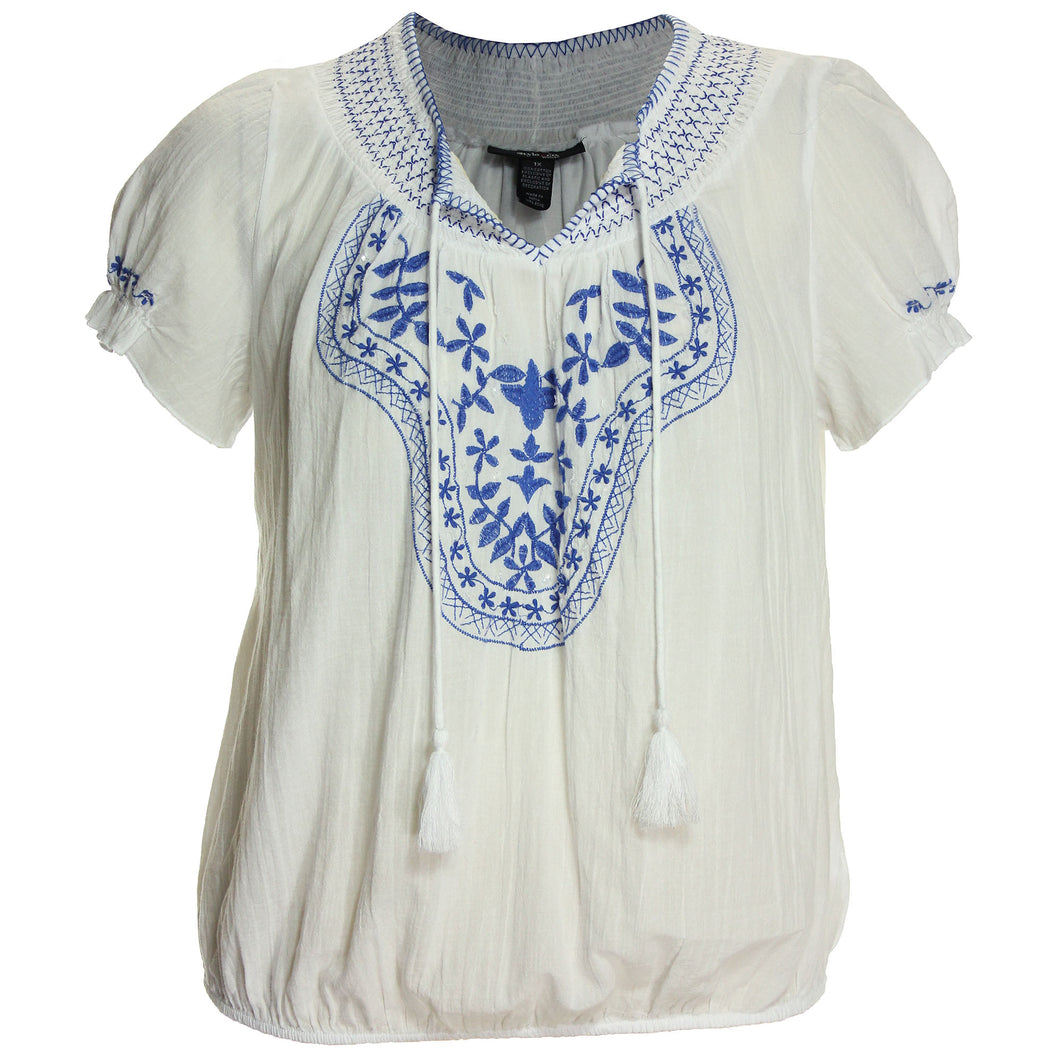 Style & Co Short Sleeve Embroidered Smocked Blouse