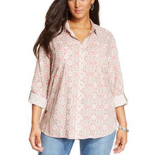 Style & Co Multi Color Dual Print Long Sleeve Button Down Shirt Plus Size