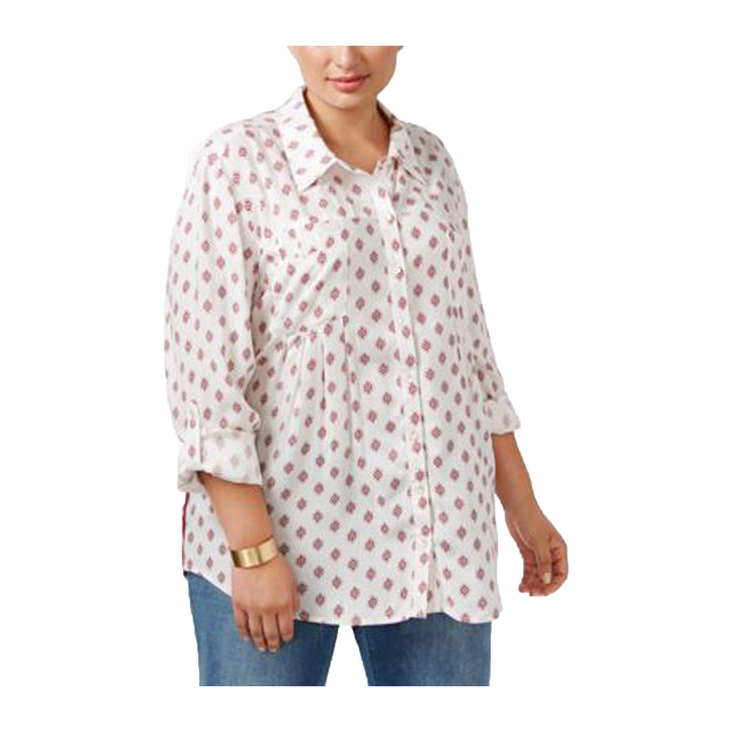 Style & Co Mixed Print Convertible Sleeve Button Down Shirt Plus Size