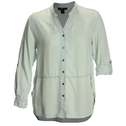 Style & Co Blue Convertible Sleeve Button Down Shirt