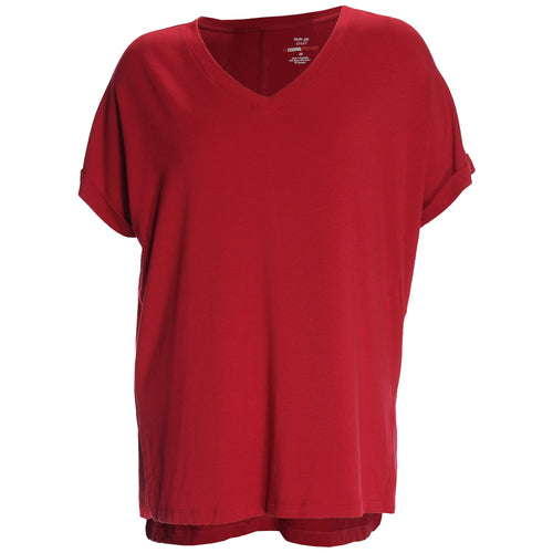 Style & Co Red Short Sleeve V-Neck High-Low Hemline Top