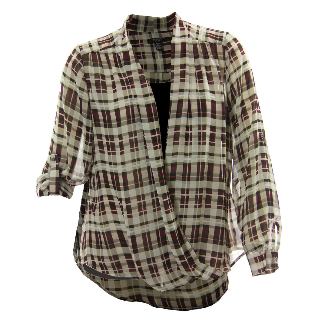 Alfani Multi Color Plaid Print Long Sleeve Cross Front Blouse & Camisole