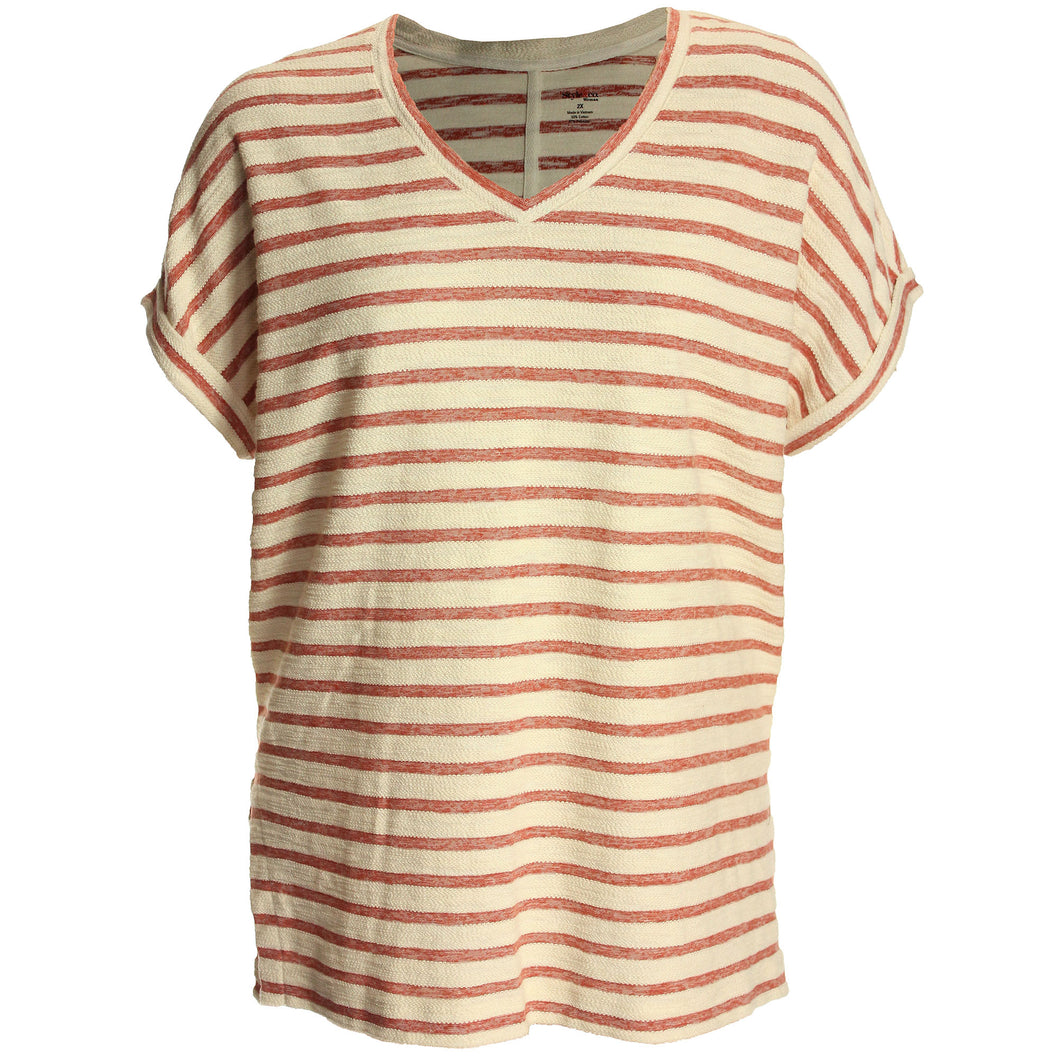 Style & Co Striped Short Sleeve Knit Top