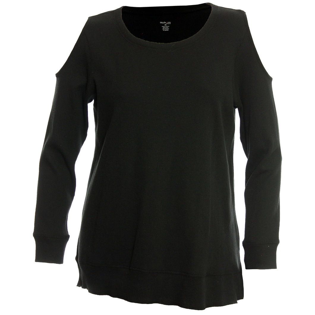 Style & Co. Black Long Sleeve Cold Shoulder Thermal Knit Top