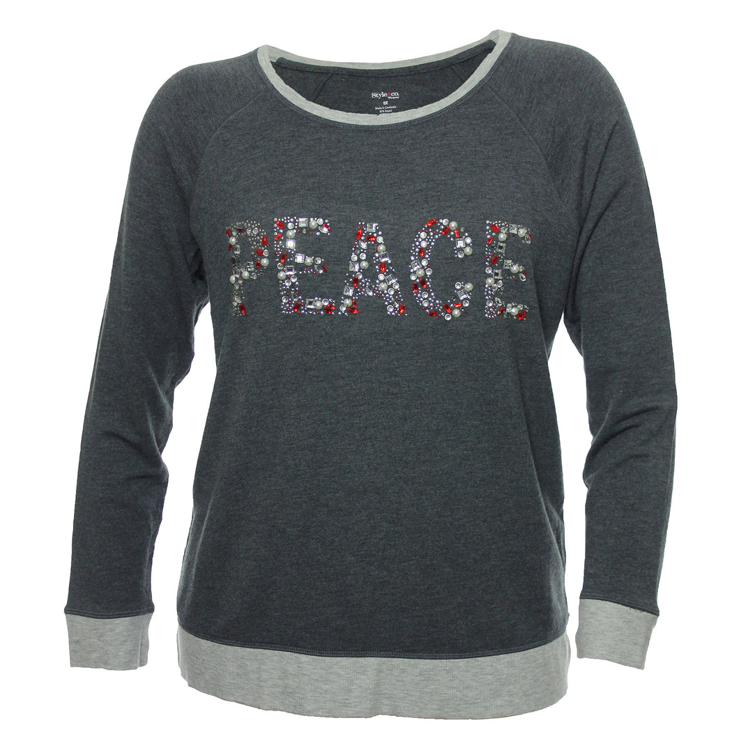 Style & Co Gray Long Sleeve Rhinestone Embellished