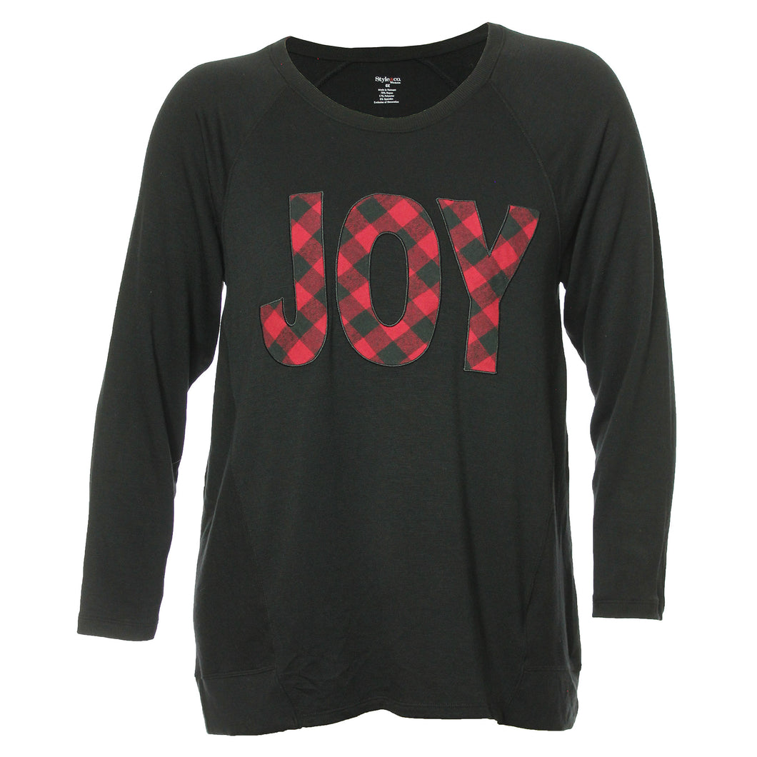 Style & Co Black Long Sleeve Applique